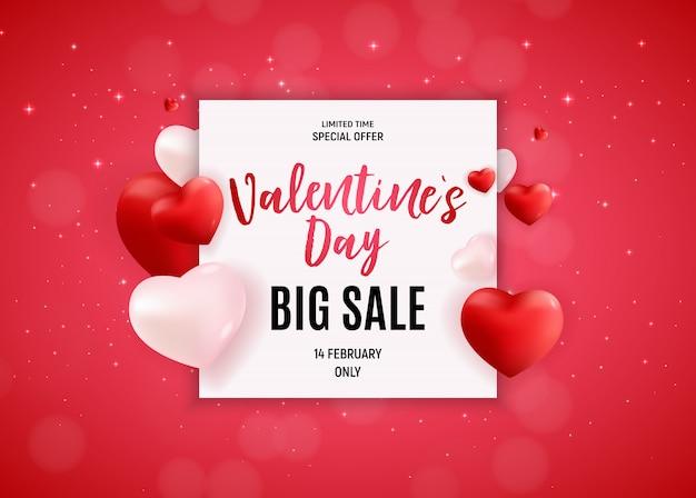 Bannière de vente d'amour de la saint-valentin