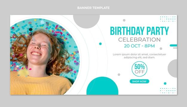 Bannière de vente d'anniversaire minimal design plat