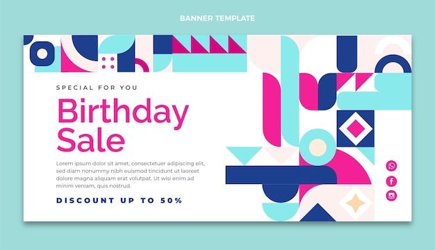 Bannière de vente d'anniversaire en mosaïque design plat