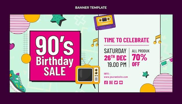 Bannière de vente d'anniversaire nostalgique des années 90 dessinée à la main