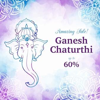 Bannière de vente aquarelle ganesh chaturthi