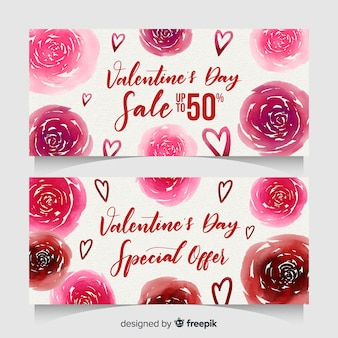 Bannière de vente aquarelle rose saint-valentin
