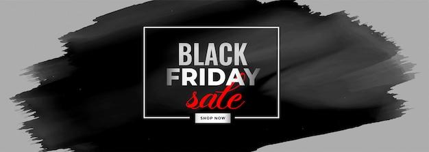 Bannière de vente d'aquarelle vendredi noir