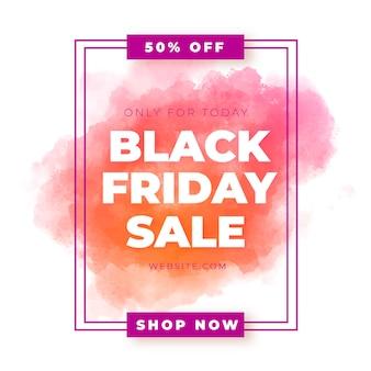 Bannière de vente aquarelle vendredi noir