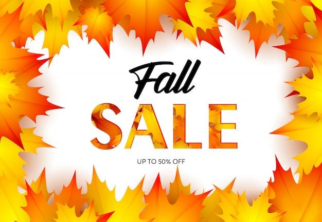 Bannière de vente au détail automne avec des feuilles d'érable