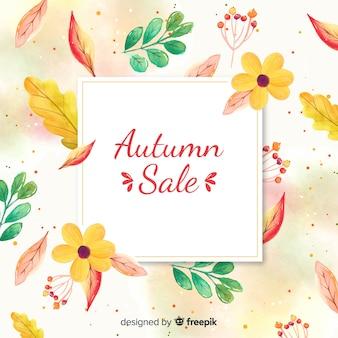 Bannière de vente automne aquarelle