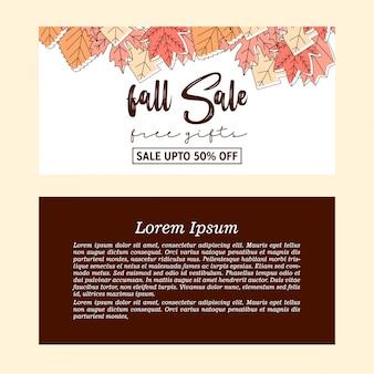 Bannière de vente automne chute