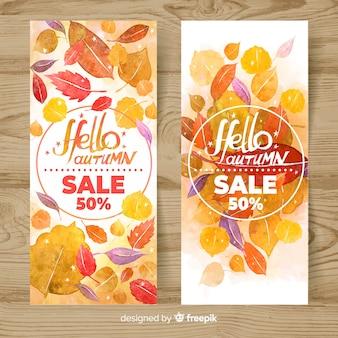 Bannière de vente d'automne dans le style aquarelle