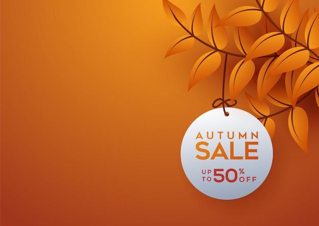 Bannière de vente automne décorer avec des feuilles