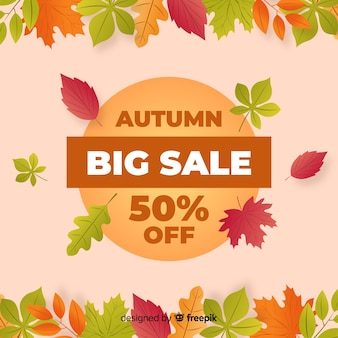 Bannière de vente automne design plat