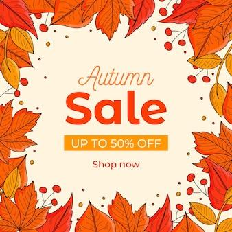 Bannière de vente automne dessiné à la main