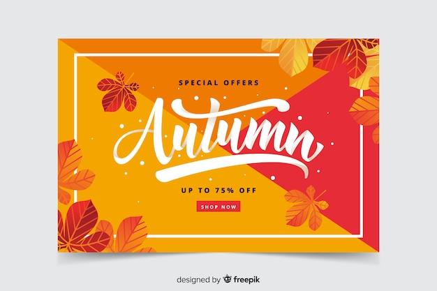 Bannière de vente automne dessinés à la main