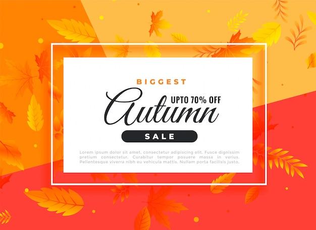 Bannière de vente d'automne avec détails promotionnels