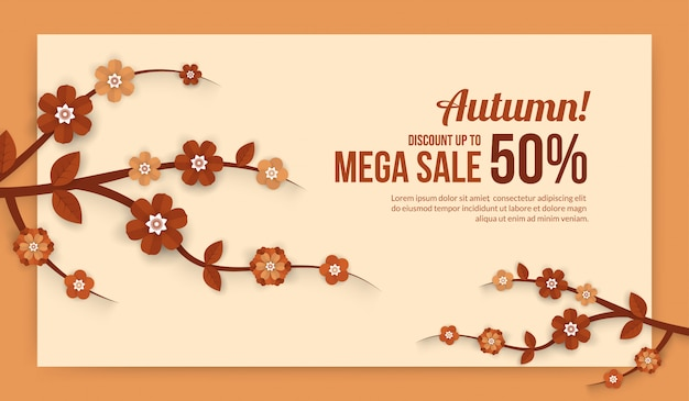 Bannière de vente automne avec des éléments de fleurs en papier coupé style pour affiche de vente shopping ou promo