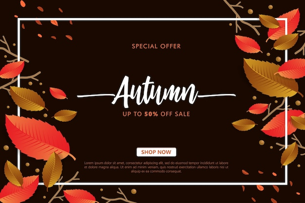 Bannière De Vente D'automne Avec Des Feuilles D'automne Sur Fond Sombre Vecteur Premium