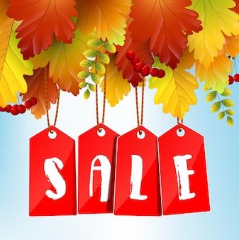 Bannière de vente automne avec des feuilles d'érable