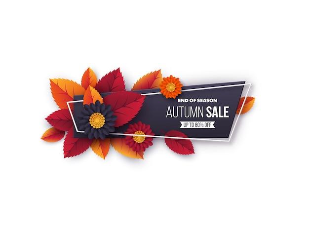 Bannière de vente d'automne avec des feuilles et des fleurs. conception d'automne découpée en papier pour la promotion des achats de la saison d'automne.
