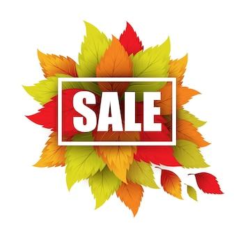 Bannière de vente d'automne avec des feuilles mortes