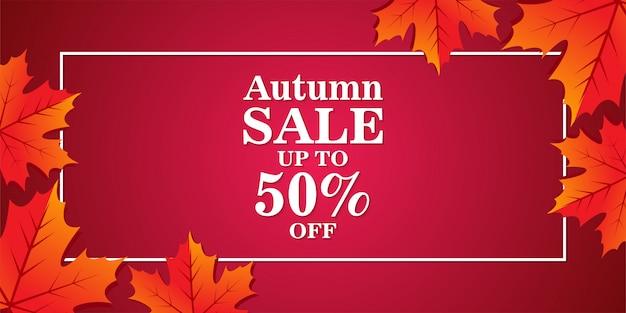 Bannière de vente d'automne avec des feuilles