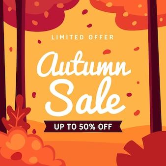 Bannière de vente automne plat