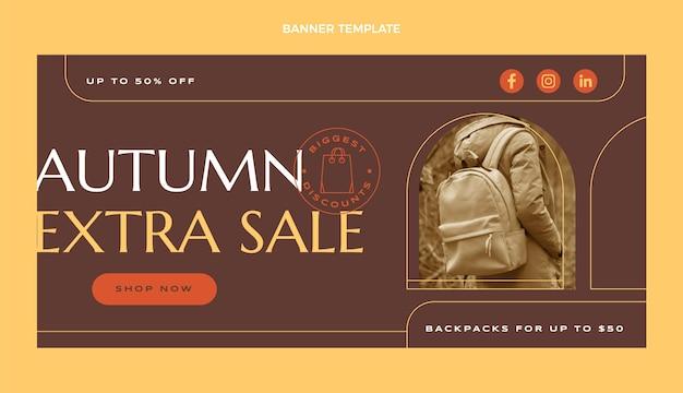 Bannière de vente d'automne plat