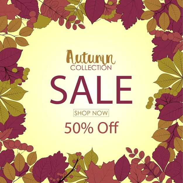 Bannière de vente automne rétro