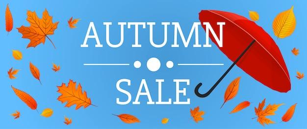 Bannière de vente automne, style cartoon