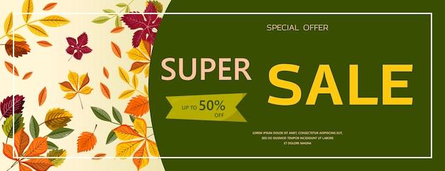 Bannière de vente d'automne vecteur lumineux bonjour automne modèle de conception plate