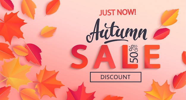 Bannière de vente d'automne