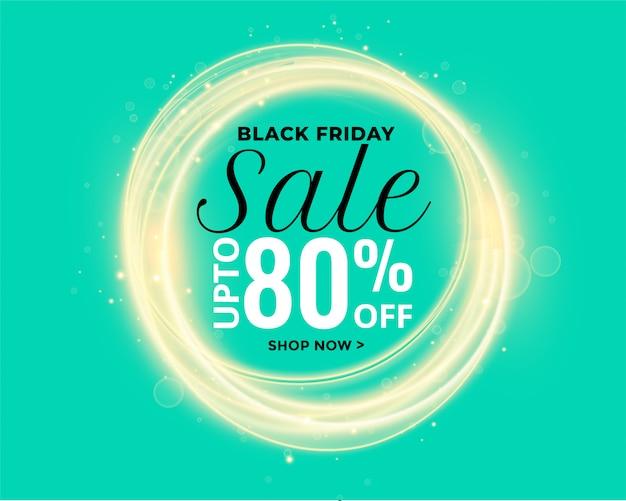 Bannière de vente de belles lumières brillantes noir vendredi