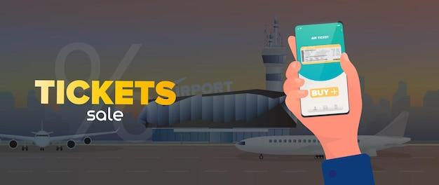 Bannière de vente de billets. réduction sur les billets d'avion. réservation en ligne. aéroport moderne. piste.