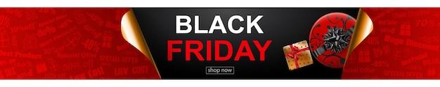 Bannière de vente black friday aux couleurs rouge, noir et doré. inscription et coffret cadeau sur fond sombre. coins de papier recourbés. illustration vectorielle pour affiches, flyers, cartes