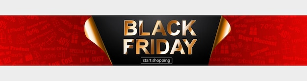 Bannière de vente black friday aux couleurs rouge, noir et doré. inscription sur fond sombre. coins de papier recourbés. illustration vectorielle pour affiches, flyers, cartes
