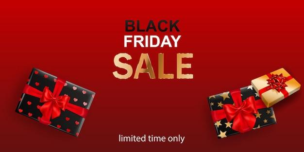 Bannière de vente black friday. coffret cadeau avec archet et rubans sur fond rouge. illustration vectorielle pour affiches, flyers ou cartes.