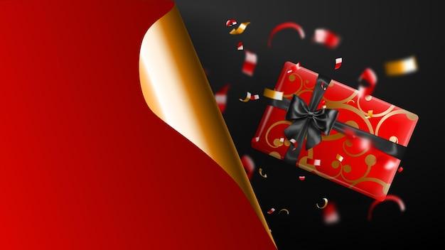 Bannière de vente black friday. coin de papier gondolé doré et lieu d'inscription. coffret cadeau, morceaux de serpentine rouges et jaunes flous sur fond sombre. illustration vectorielle pour affiches, flyers, cartes