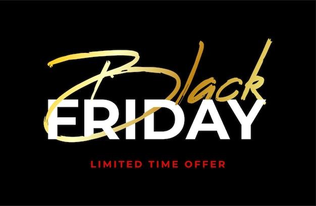 Bannière de vente black friday gold. style minimal. vendredi noir isolé sur fond noir.
