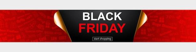 Bannière de vente black friday en rouge