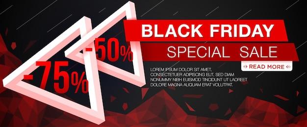 Bannière de vente black friday avec des triangles. bannière web du vendredi noir. illustration vectorielle