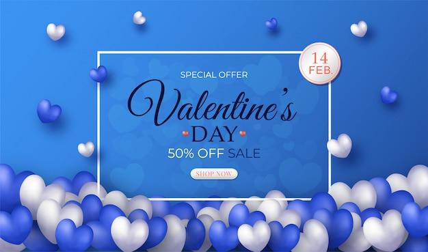 Bannière de vente bleu saint valentin et coeurs blancs