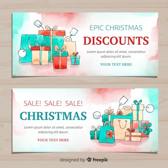 Bannière de vente de boîtes-cadeaux aquarelle