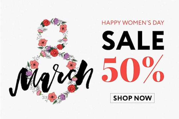 Bannière de vente bonne journée des femmes.