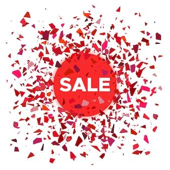 Bannière de vente. boule rouge avec la vente d'inscription et des fragments de dispersion autour. illustration vectorielle