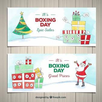 Bannière de vente boxe jour dessinés à la main