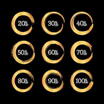 Bannière de vente de brosse dorée sertie de fond noir premium
