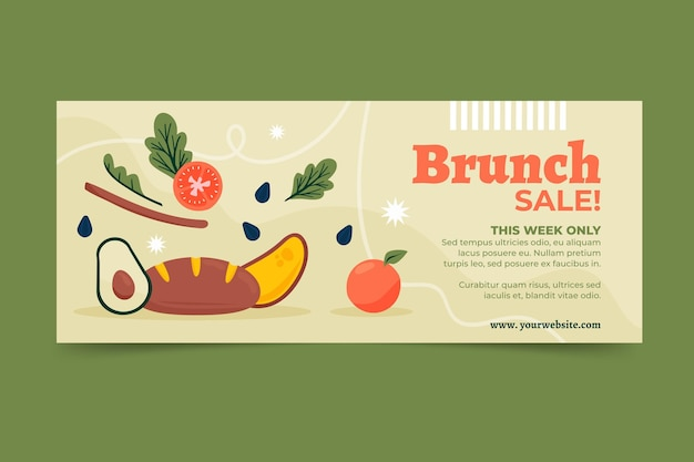 Bannière de vente brunch design plat