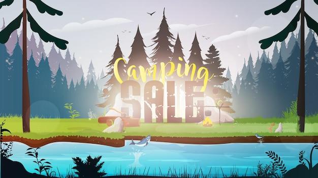 Bannière de vente de camping. forêt avec une rivière.