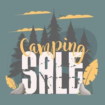 Bannière de vente de camping. nuit en forêt. silhouettes d'arbres.