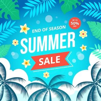 Bannière de vente carrée d'été de fin de saison