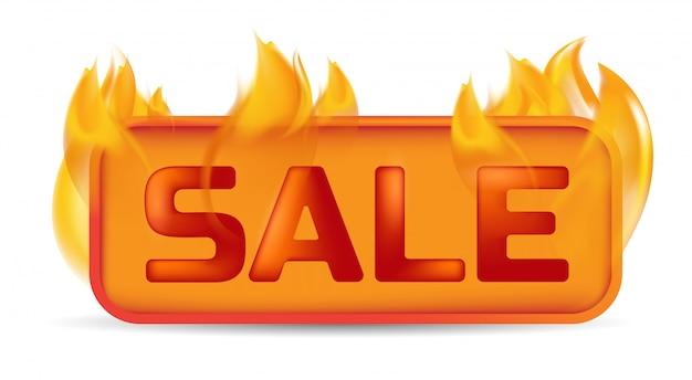 Bannière de vente chaude ou bouton de site web en feu.