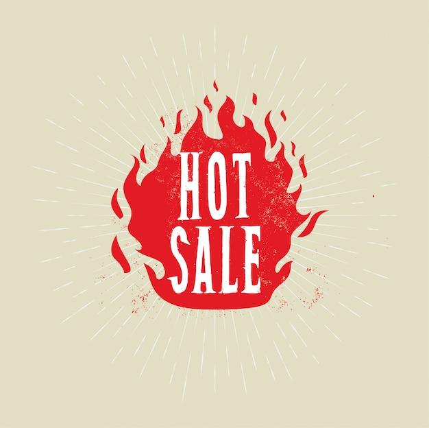 Bannière de vente chaude. flamme de feu avec légende de vente chaude.